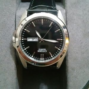 Citizen Watch with Black Leather Band